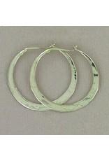 25mm Sterling Silver Hammered Hoop Earrings, Mexico