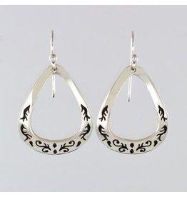 Swirling Triangle Sterling Earrings, Mexico