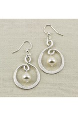 Twirling Hoop & Swarovski Pearl Earrings
