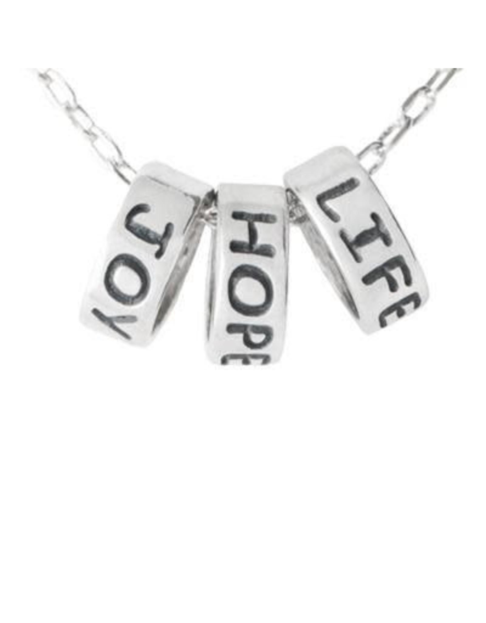 Joy Hope Life Pewter Necklace, Thailand