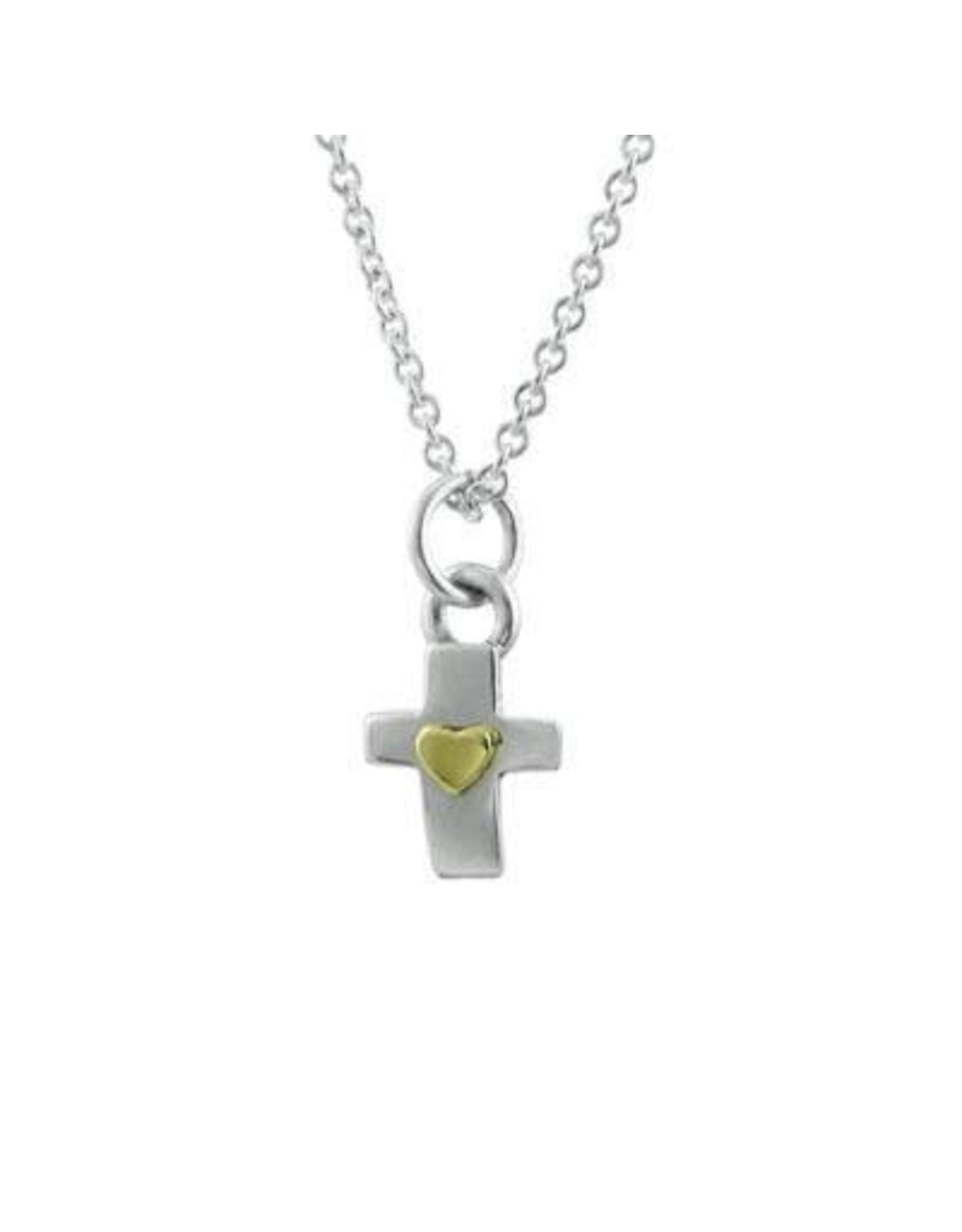 Cross with Heart Sterling Necklace, Mexico