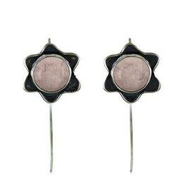 Flower Rose Quartz Sterling Silver Earrings
