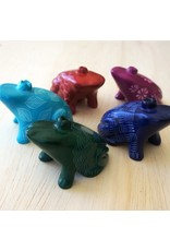 Soapstone Frog, RED or PALE BLUE
