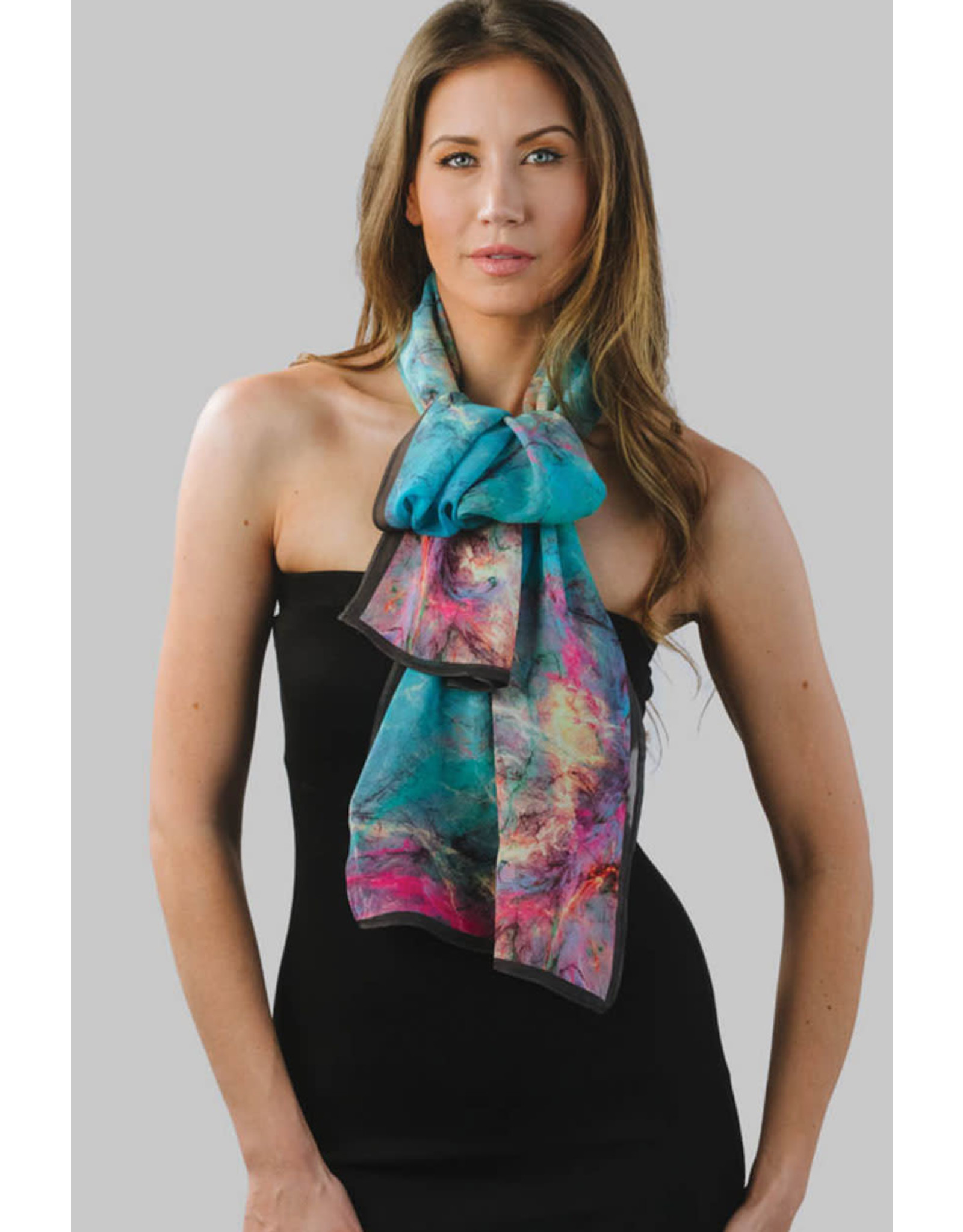 Aloka Cupro Cotton Scarf, Turquoise and Orchid, India