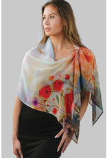 Aloka Cupro Georgette Scarf, Red Poppies, India