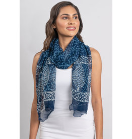 Tamira Scarf, Block Print, Blues, India