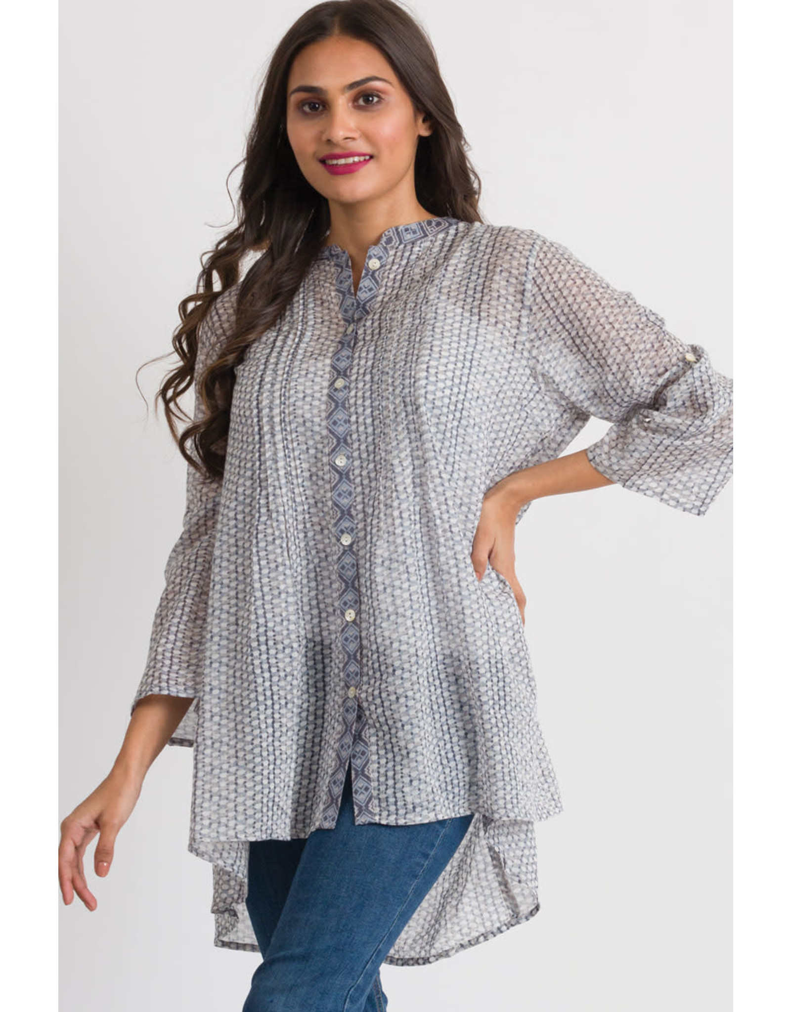 Amisha Cotton Tunic, O/S, Charcoal, India