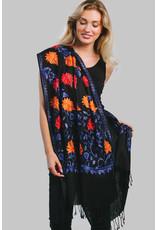 Javavi Embroidered Wool Blend Shawl, Blue Multi