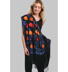 Javavi Embroidered Wool Blend Shawl, Blue Multi