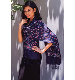Deepali Embroidered Wool Blend Scarf, Navy Multi