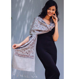 Deepali Embroidered Wool Blend Scarf, Silver Multi