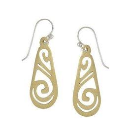 Water Brass Drop Earrings, Mexico