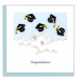 Flying Graduation Hats Congrats