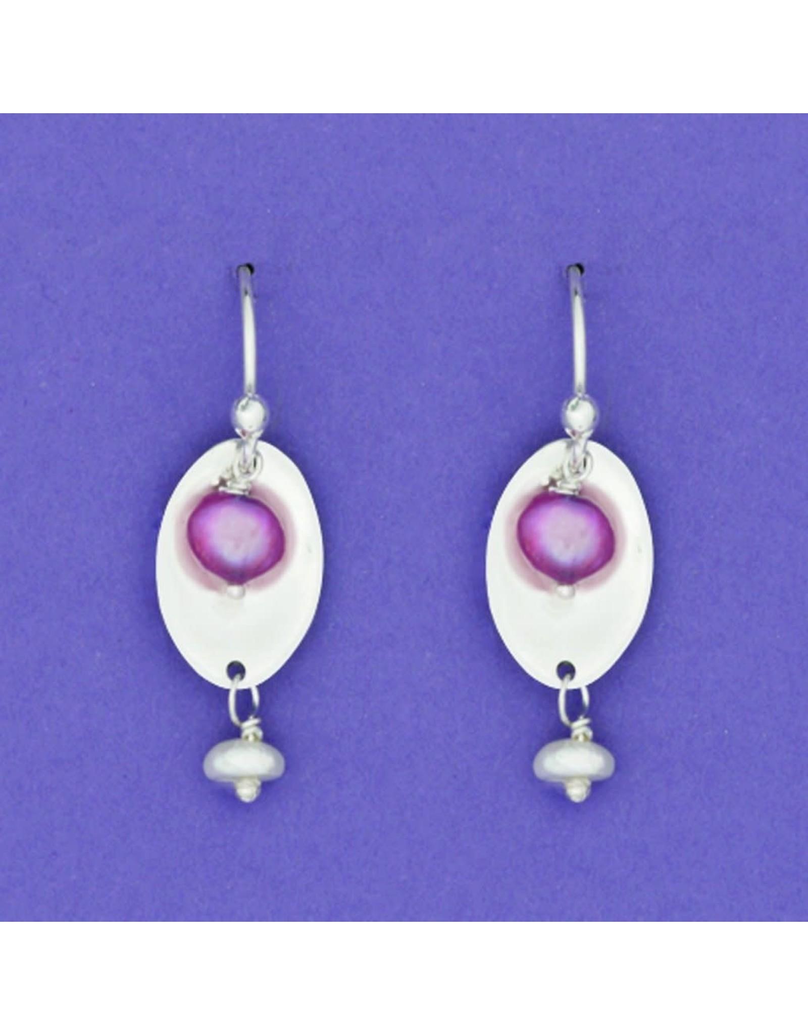 Sterling Silver Long Oval Earrings Wire w/ Raspberry