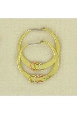 Brass Hammered Hoops, w/ SS earring wire, Mexico