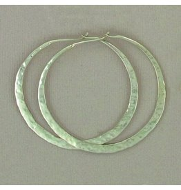 Sterling Silver Hammered Hoops, 40mm, Mexico