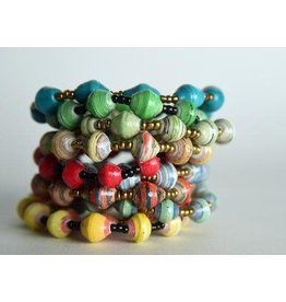 Paper Bead Stretch Bracelet, Uganda