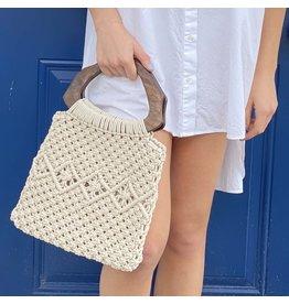 Macrame Bag w/ Wooden Handle