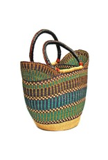Bolga Tote, Mixed Colors, Leather Handle