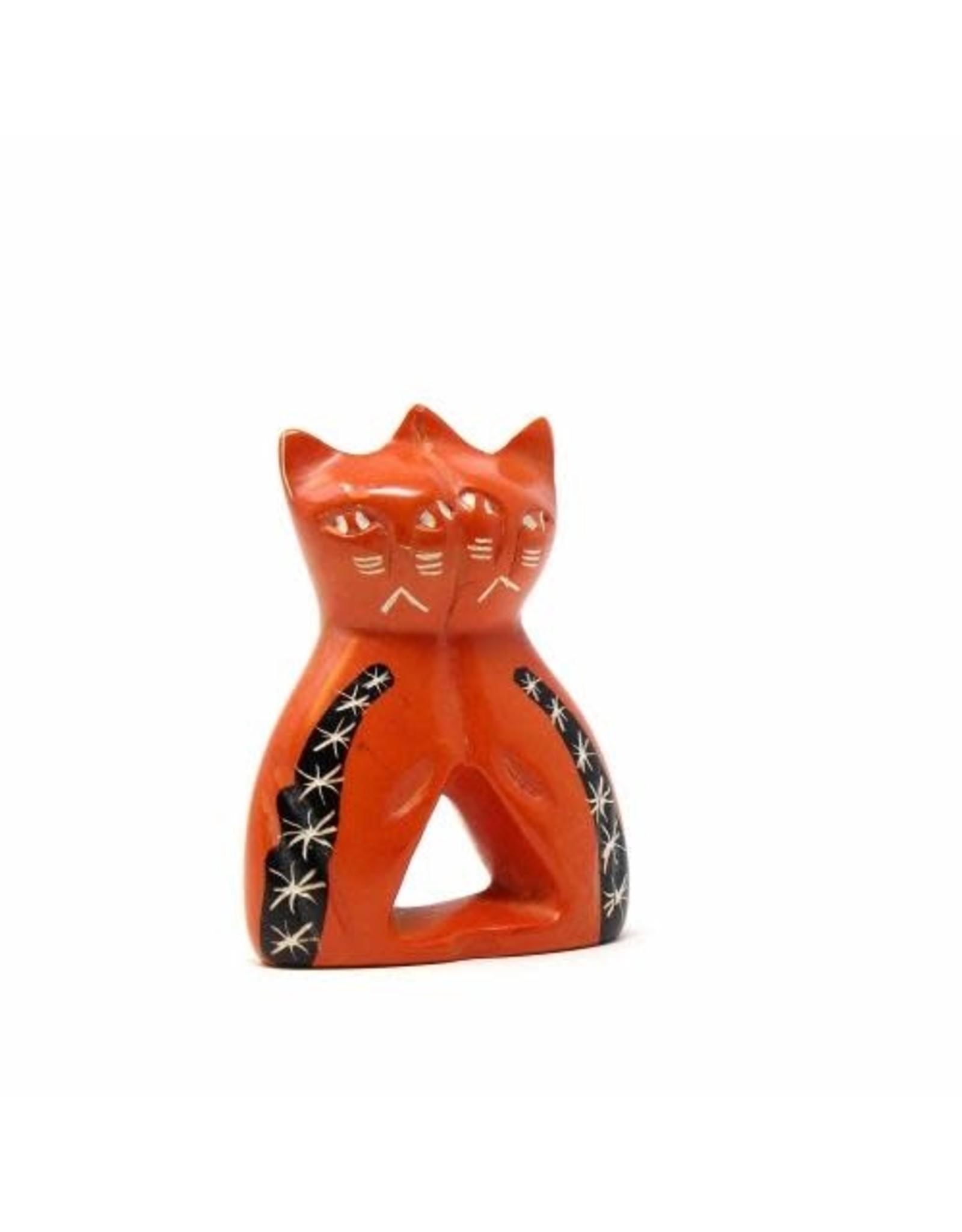 Soapstone Twin Cat, Orange