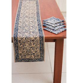 Kalamkari Table Runner, 100% Cotton, Natural Dyes Blue