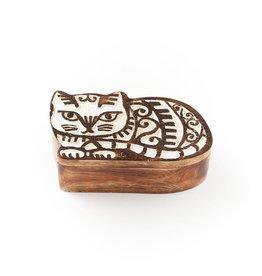 Antique Finish Pivot Box, Cat, India