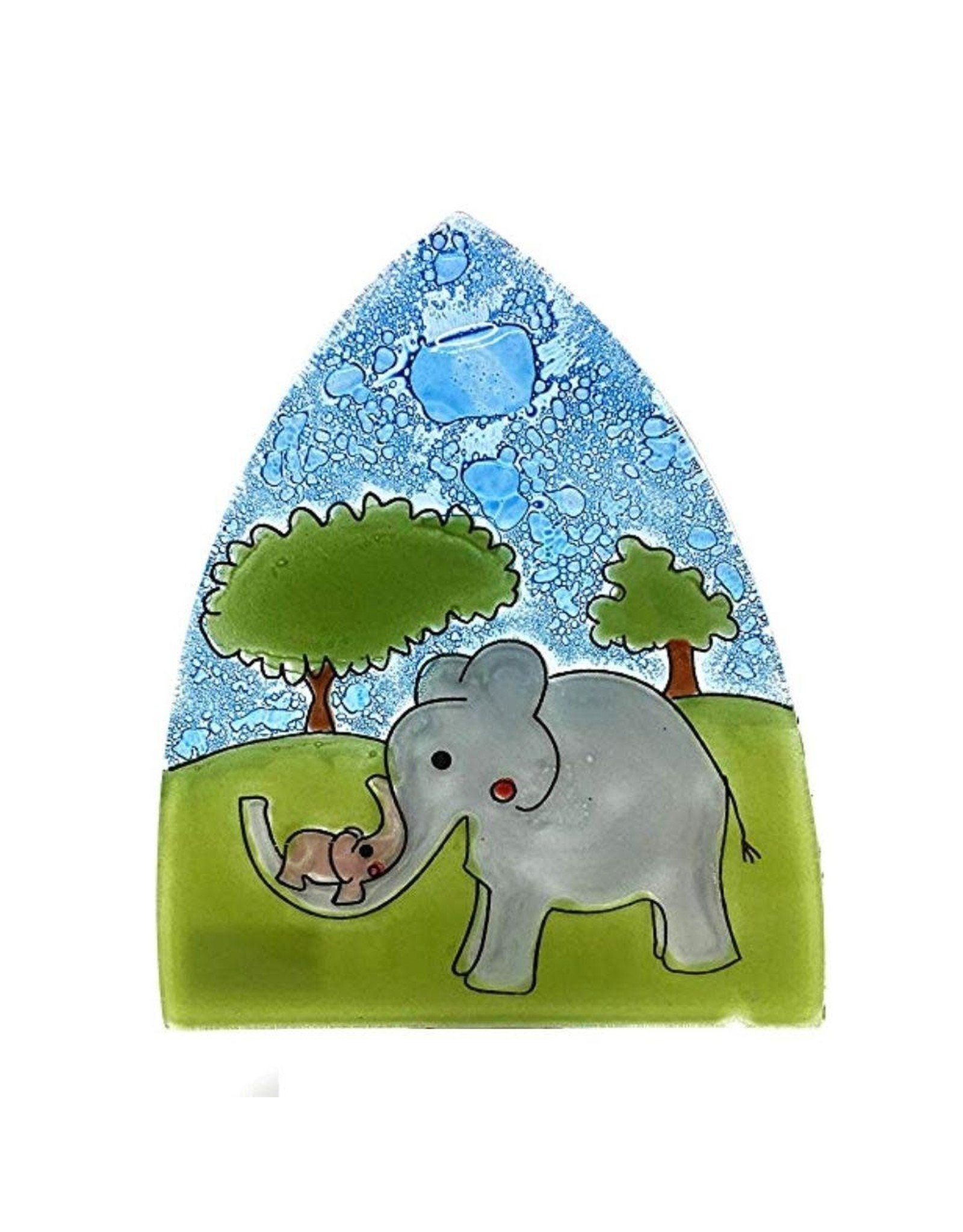 Hand Blown Glass Nightlight Enchanted Elephants, Ecuador