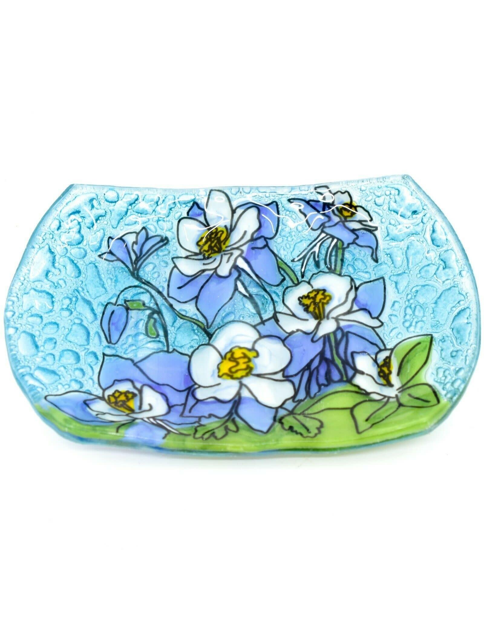 Hand Blown Glass Soap Dish, Blue Columbine
