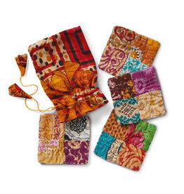 Patchwork Kantha Coasters - Set of 4