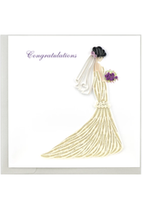 Bridal Shower White Gown Quilling Card, Vietnam