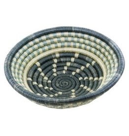 "6"" Agaseke Woven Bowl Basket, Dark & Light Gray/ White, Rwanda"
