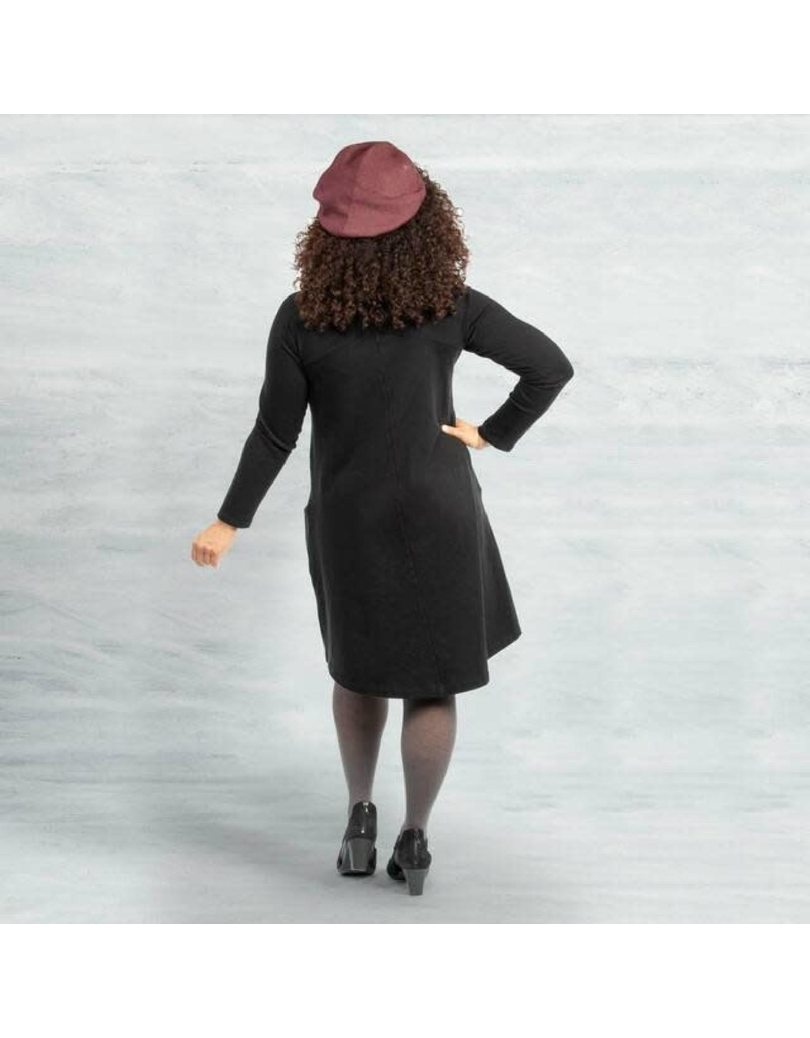 Raglan Organic Cotton Rib Dress, Black,