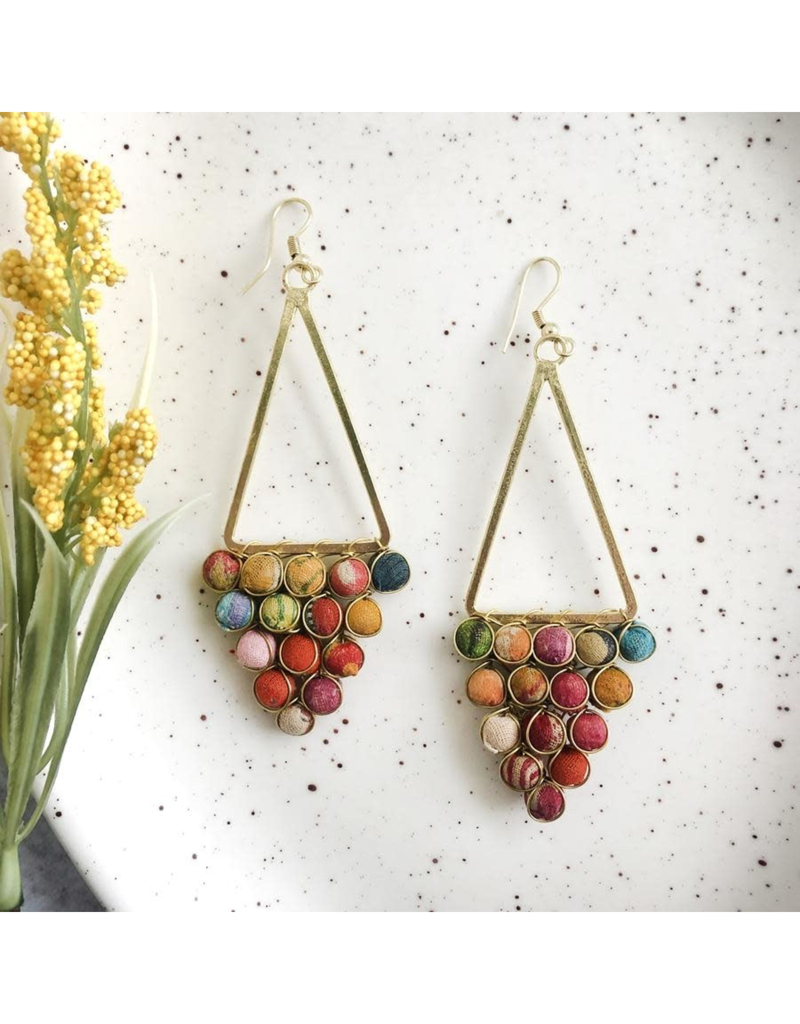 Kantha Reflective Chandelier Earrings, India