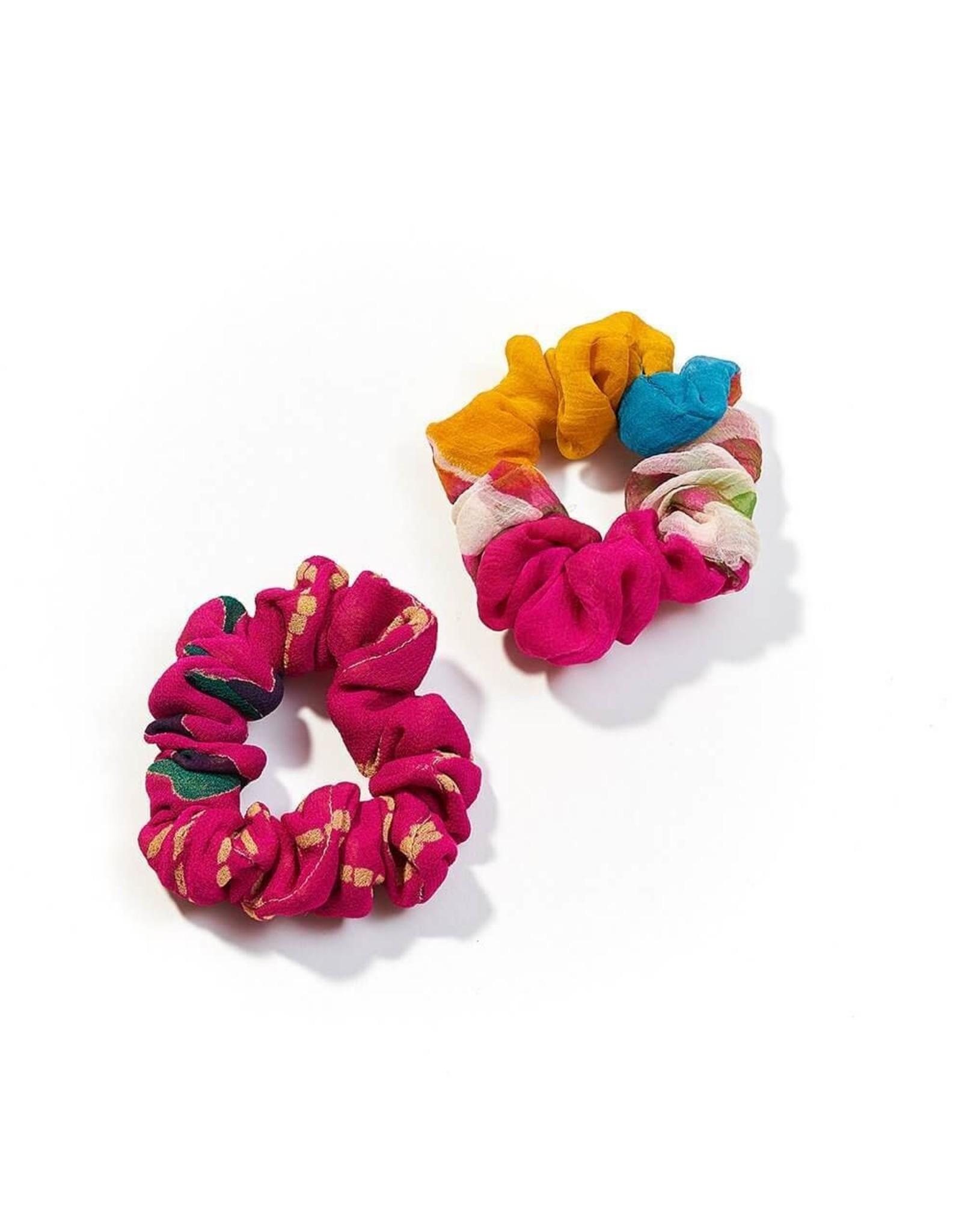 Upcycled Sari Scrunchies, Set of 2