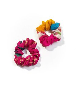 Upcycled Sari Scrunchies, Set of 2