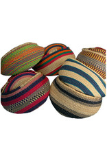 Woven Grass Large Basket w/ Leather Handle, Africa