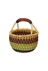 Ghana Woven grass Large Mini Round Basket, Africa