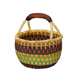 Ghana Woven grass Large Mini Round Basket, Africa
