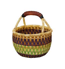 Ghana Woven Grass Round Basket, Africa