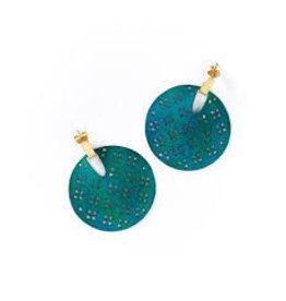 Chameli Earrings, Teal Blossom, India