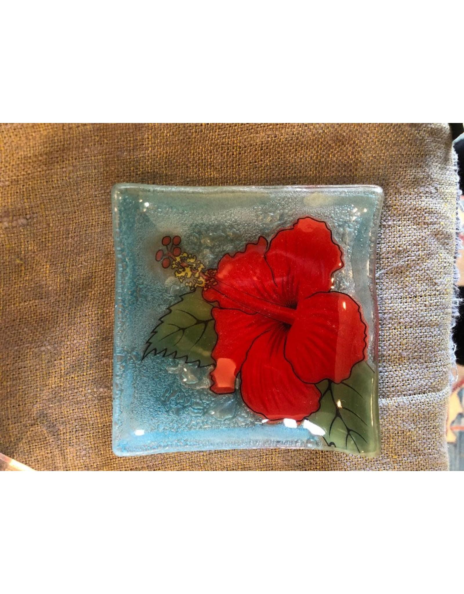 Hand Blown Small Square Glass Dish, Hibiscus Flower, Ecuador