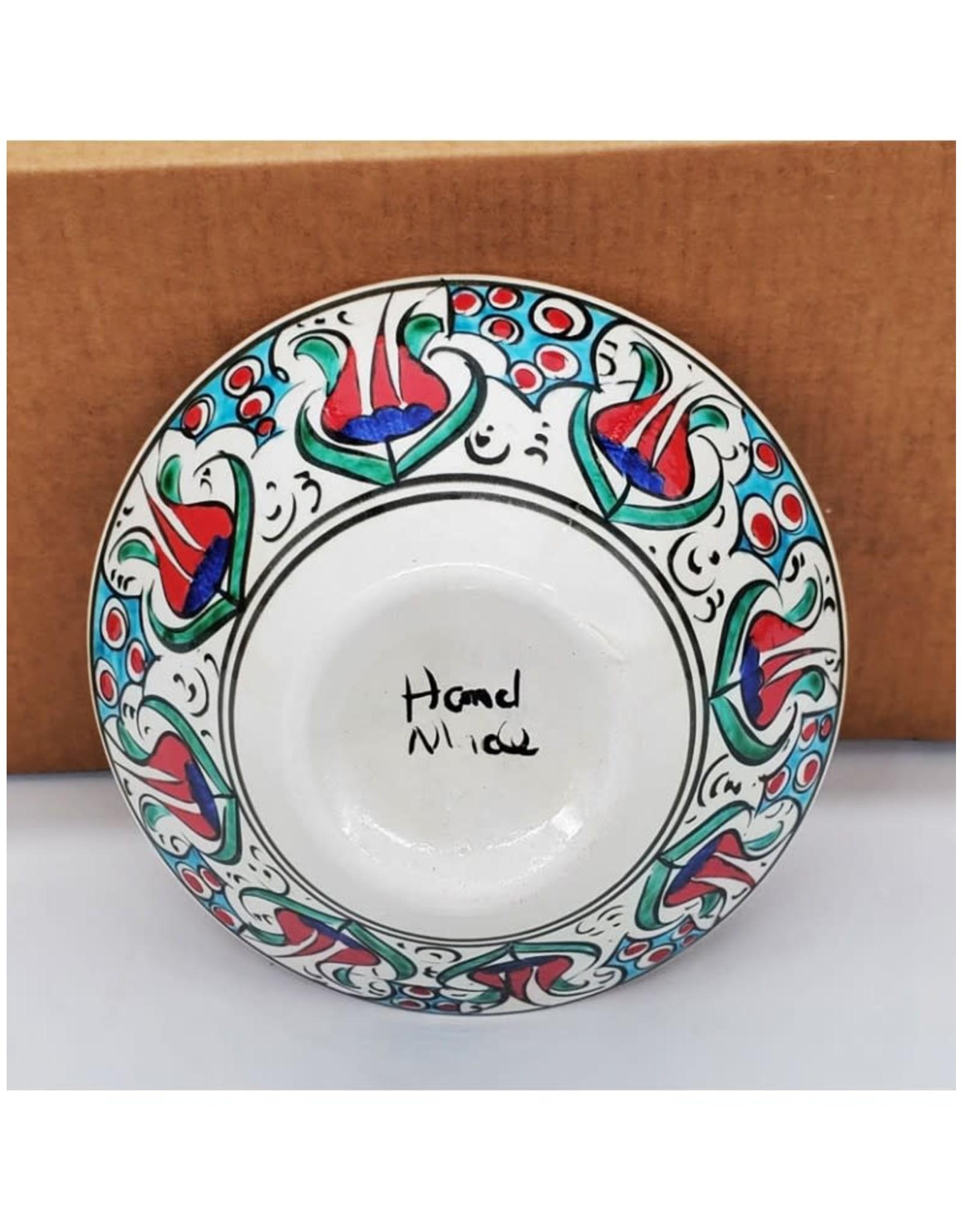 """5"""" Hand Painted Iznik V Shaped Ceramic Bowl, Turkey"""