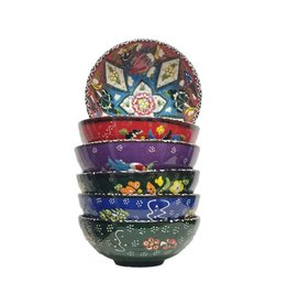 "6"" Hand Painted Relief  Ceramic Bowl, Turkey"