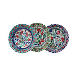 "12"" Hand Painted Ceramic Plate, Turkey"