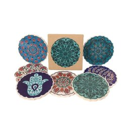 Hand Painted Ceramic Coasters Set of 4, Turkey