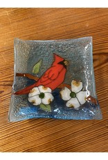 Hand Blown Small Square Glass Dish, Cardinal Dogwood, Ecuador