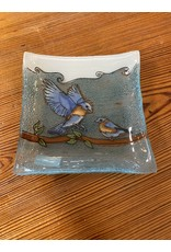 Hand Blown Small Square Glass Dish, Blue Bird,  Ecuador