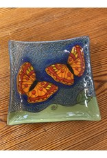 Hand Blown Small Square Glass Dish, Butterfly, Ecuador