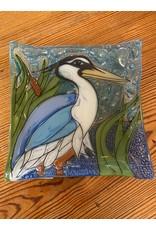 Hand Blown Small Square Glass Dish, Blue Heron, Ecuador