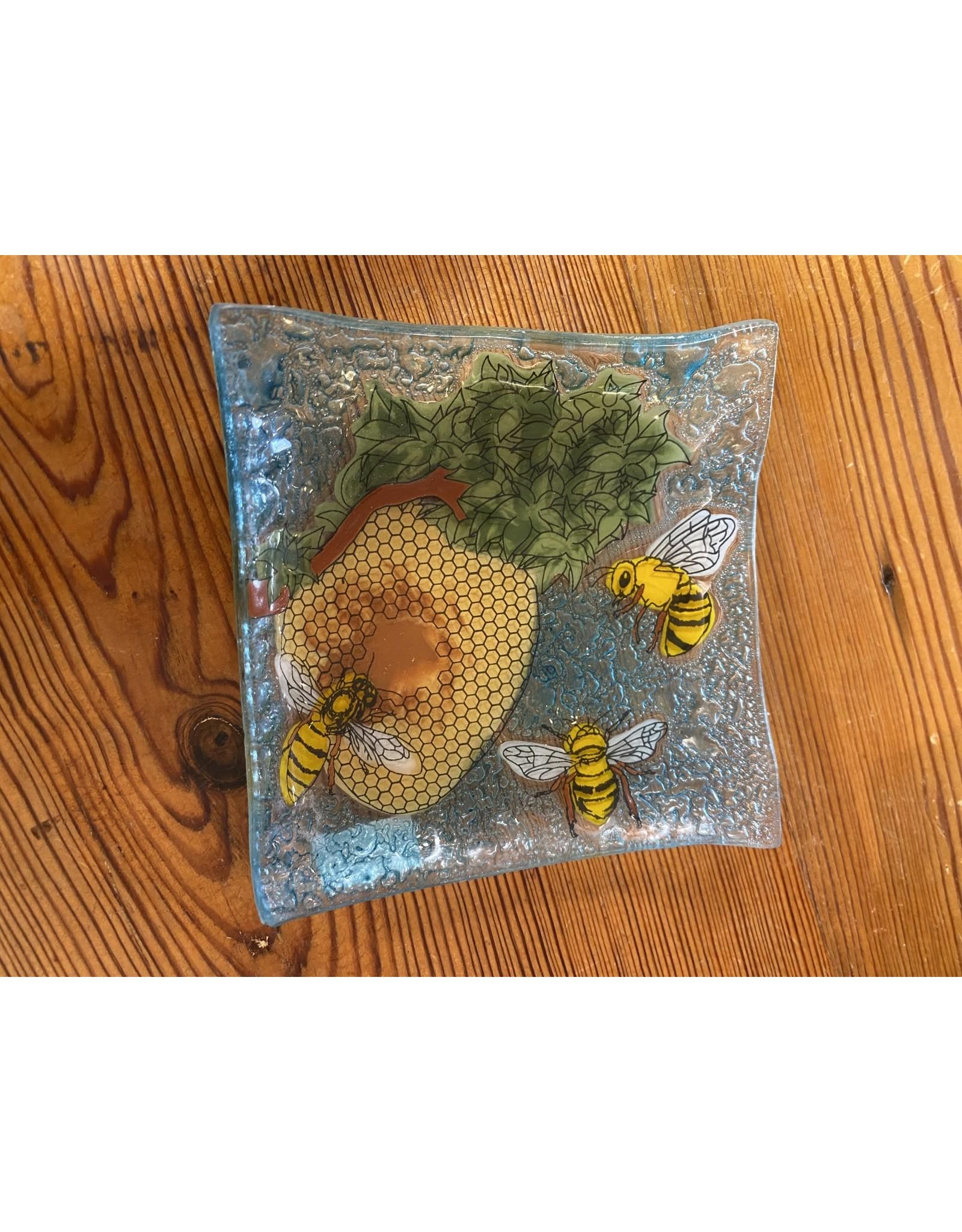 Hand Blown  Small Square Glass Dish, Bees Scene, Ecuador